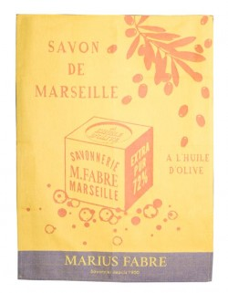 "Blue ""Savon de Marseille"" tea towel"