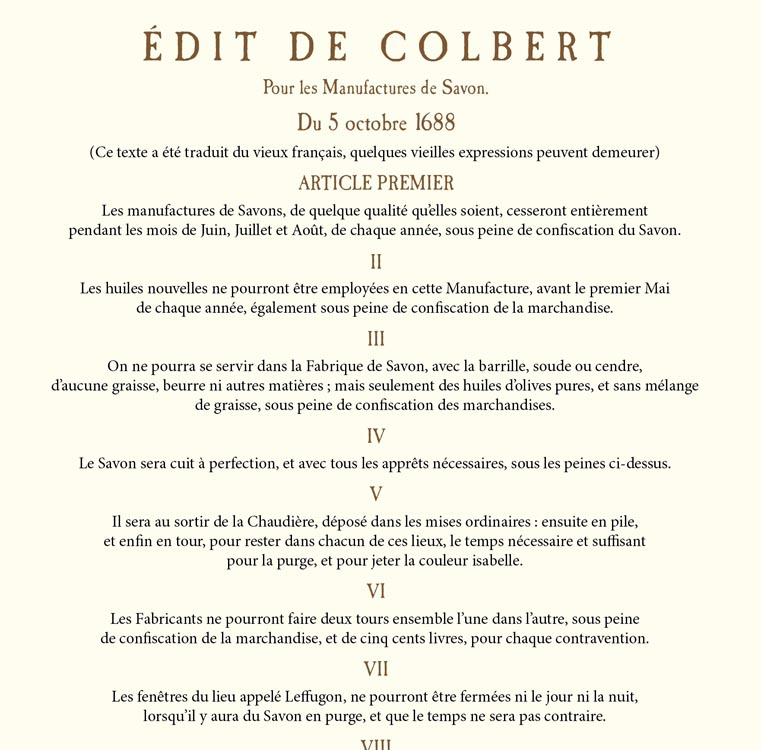 Colbert Edit : the rules of Marseille soap manufacturing
